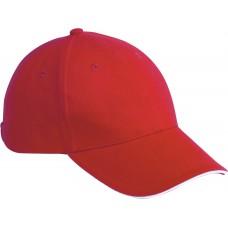 Davis 6-panel sandwichcap rood/wit